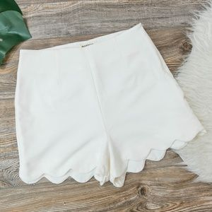 High waist scallop hem white shorts